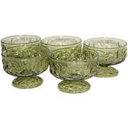 1970s Ghoulish Green Textured Pedestal Ice Cream Dishes