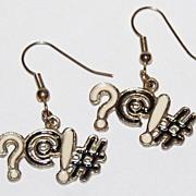 1980s Bleep Censor Exclamation ~ Enamel Dangle Earrings