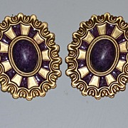 1980s Huge Wicked Purple Cabochon Pierced Earrings