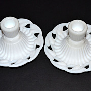 1950/60s Fostoria ~ White Milk Glass Candle Holders w/Labels