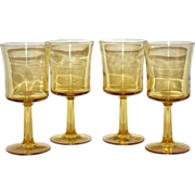 1970s Set of 4 Light Amber Wine Glasses