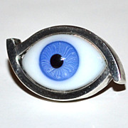 1940/50s Taxco ~ Orvelo ~ Sterling Glass Blue Eye Tie Tack Pin