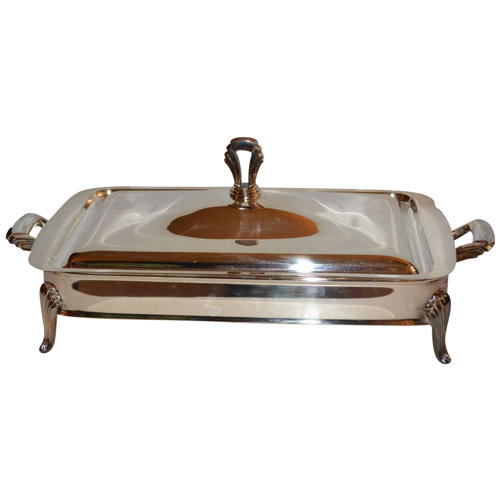 Art Deco-Inspired 2-Pc Silverplated Serving Dish