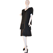 1980s Ann Hobbs ~ Deco Revival Black Chiffon & Sequin Dress