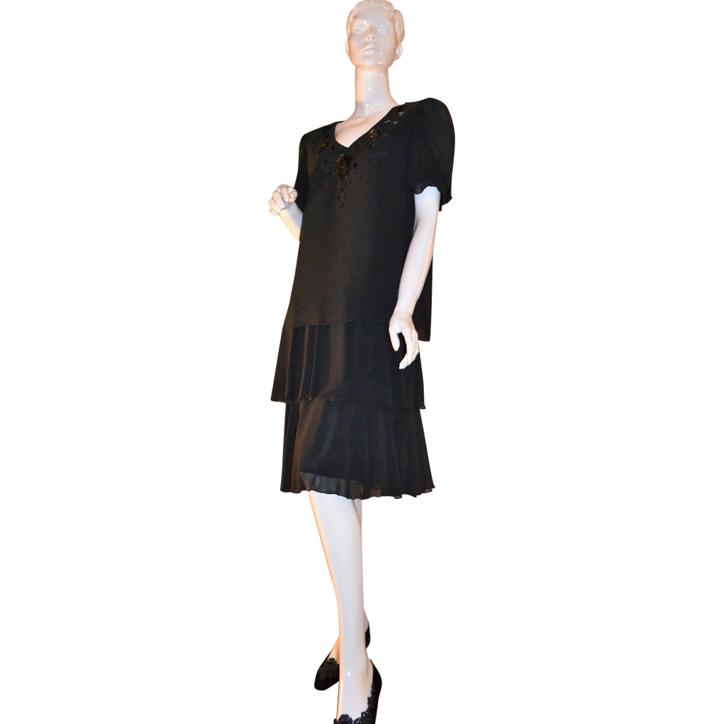 1980s Ann Hobbs ~ Deco Revival Black Chiffon & Sequin Dress