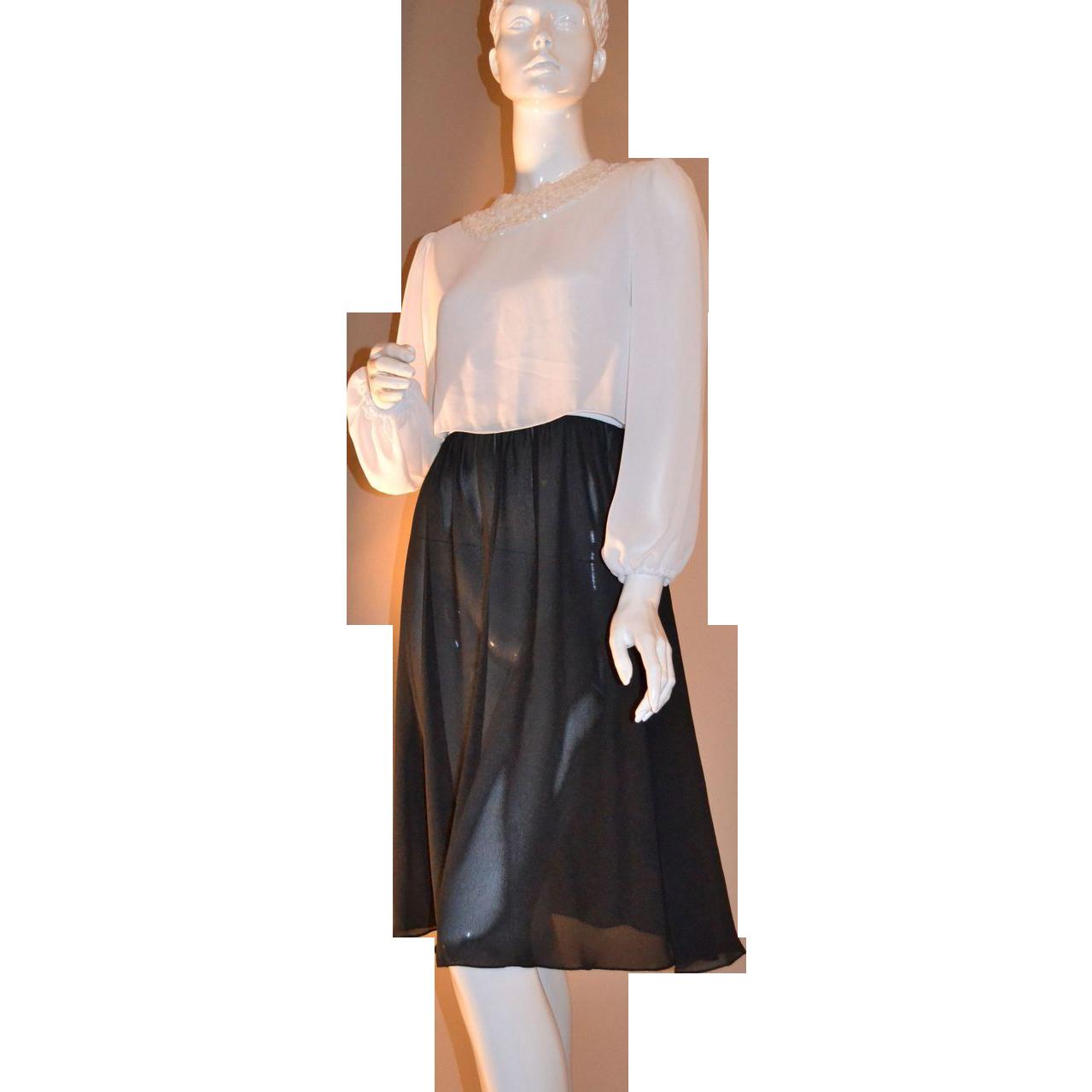 1970s Leslie Fay ~ Black & White Sequin Collar Dress ~ ILGWU