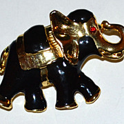 1980s Black Enamel Goldtone Elephant Brooch/Pin