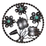 1960s Sterling Silver & Turquoise Flower Circle Brooch/Pin