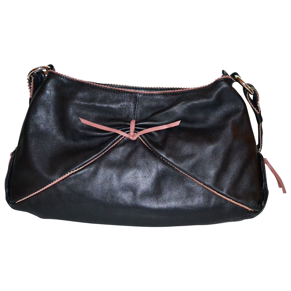 Marco Buggiani Black Leather Purse w/ Mauve Accents
