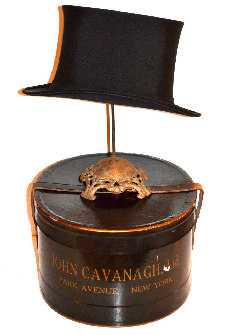 1900s John Cavanagh ~ Black Silk Top Hat w/ Original Box