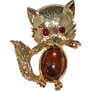 Red Rhinestone Amber-Colored Jelly Belly Cat Brooch/Pin