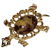 Gerry's Signed Large Jelly Belly Turtle Pendant/Pin