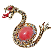 1960s Large Aurora Borealis Jelly Belly Sea Monster Brooch