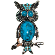 1970s Faux Turquoise Jelly Belly Owl Brooch/Pin