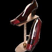 1980s Sinisi ~ Burgundy Red & Black Colorblock Heels