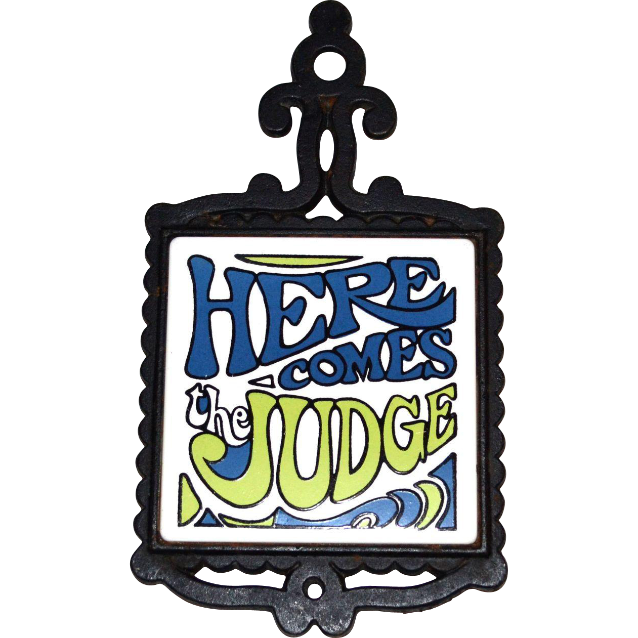 1960s here comes the judge white ceramic tile black cast metal 1960s here comes the judge white ceramic tile black cast metal kitchen trivet dailygadgetfo Images