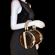 1960s Tano of Madrid ~ Black Straw & Leather Barrel Purse