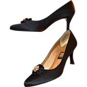 Circa 1980s NINA Black Satin Fabric Rhinestone Heels ~ Size 9M