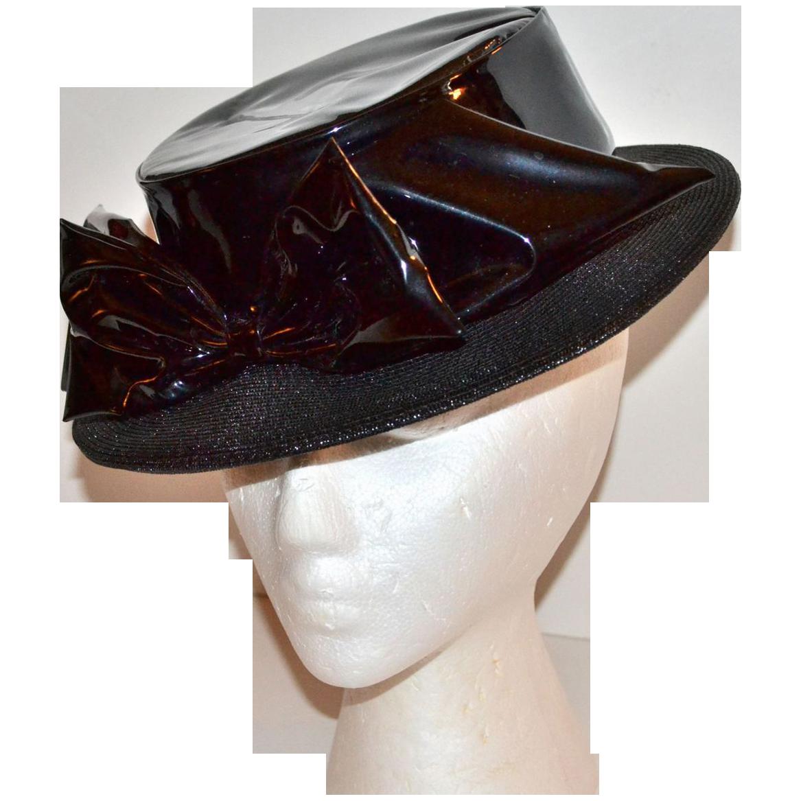 1960s Henry Margu ~ Black Vinyl Bow Boater Style Hat