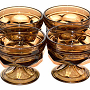 1970s Set of 4 Brown Glass Ice Cream Dishes