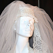 1960/70s Pleated Wedding Gown w/ 4' Train & Bridal Veil