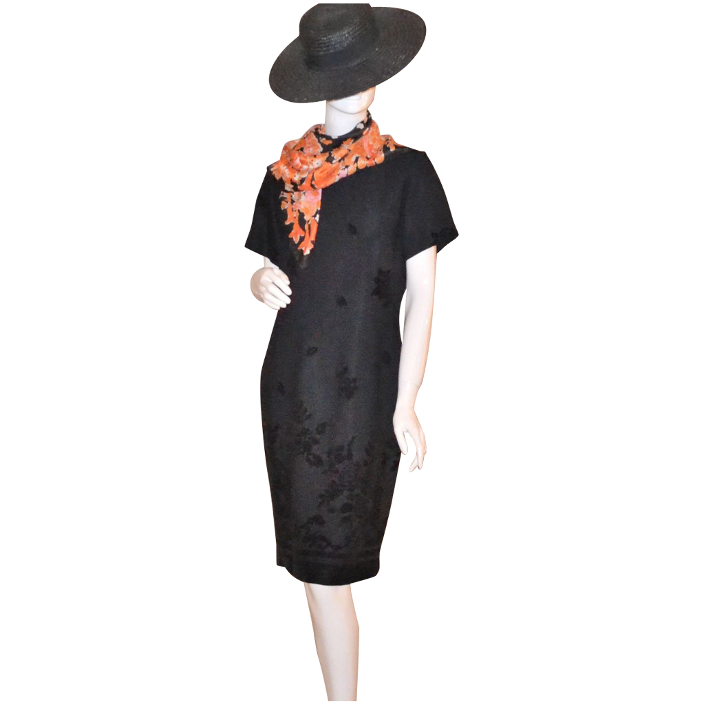 1980s Helen Blake ~ Black Rose Dress
