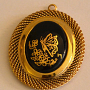 VTG Large Black Butterfly Goldtone Pendant