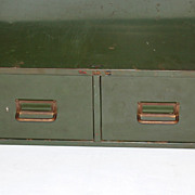 Industrial Grunge Green 2-Drawer Metal File Cabinet