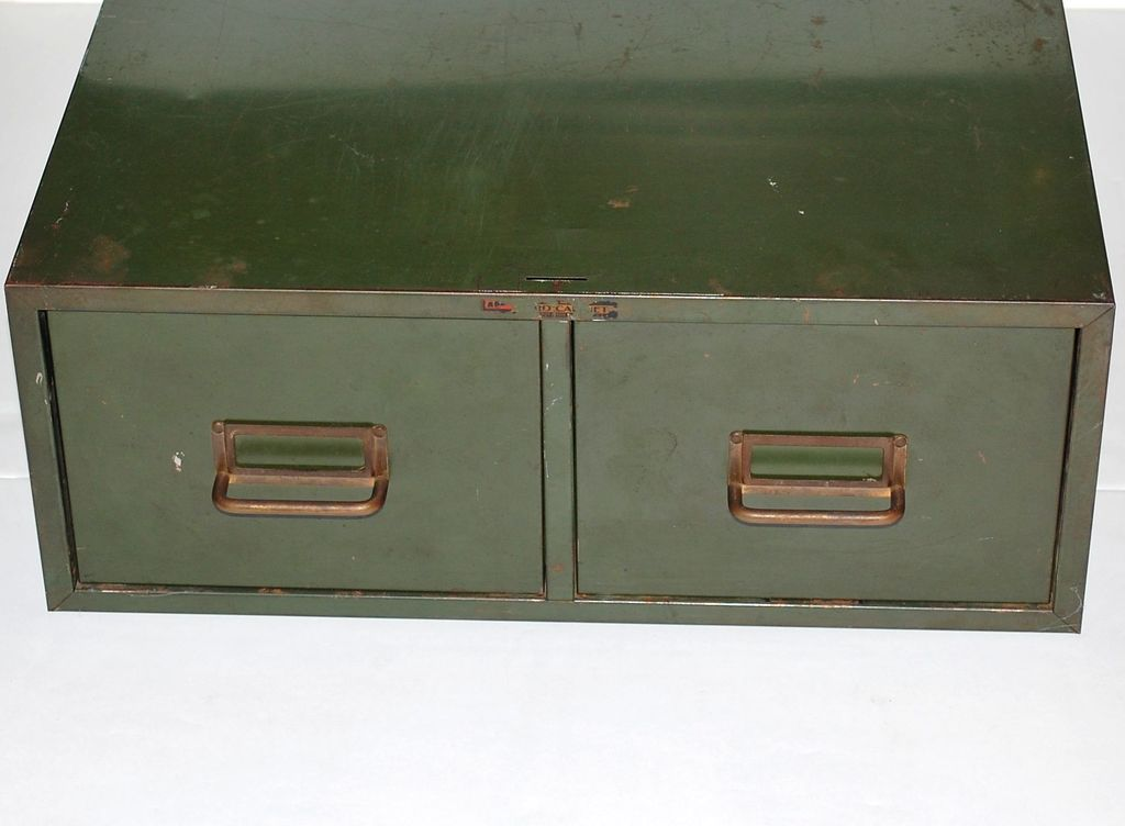 industrial grunge green 2drawer metal file cabinet