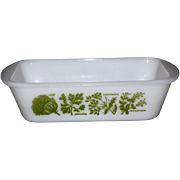 Glasbake Garden Herb White Milk Glass Casserole or Loaf Pan / Baking Dish