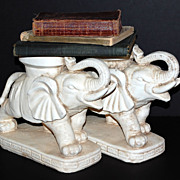 Pair of Heavy Concrete Elephant Planters
