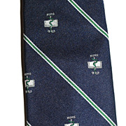 Wm Chelsea ~ Caduceus Snake & Book of Numbers Navy Blue Tie