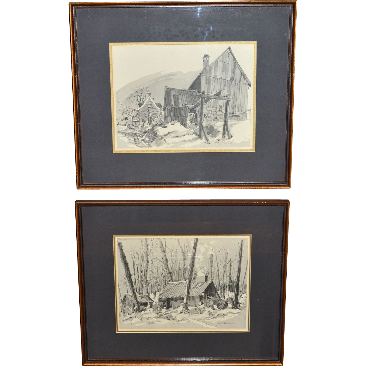 1969 Signed Set of 2 Old Shack House Framed Prints
