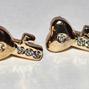 Rhinestone Skeleton Key Post Earrings