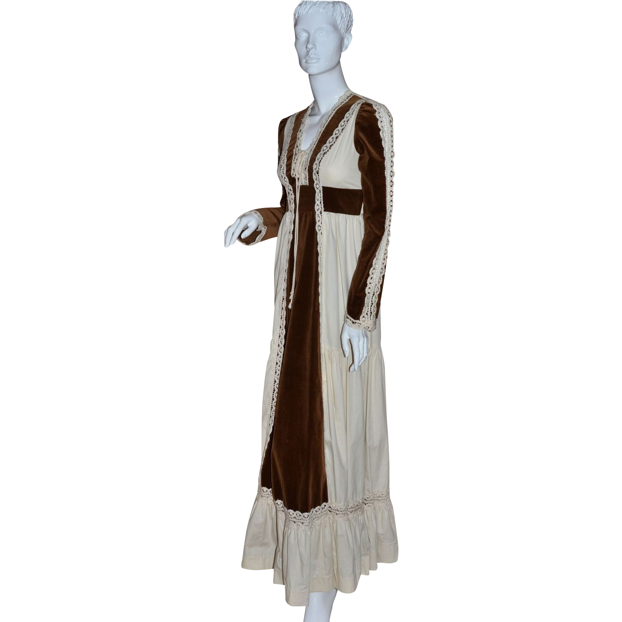 1970s Gunne Sax ~ Renaissance Brown Velvet & Lace Maxi Dress