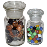 Set of 2 Apothecary Chemist Jars w/ Lids