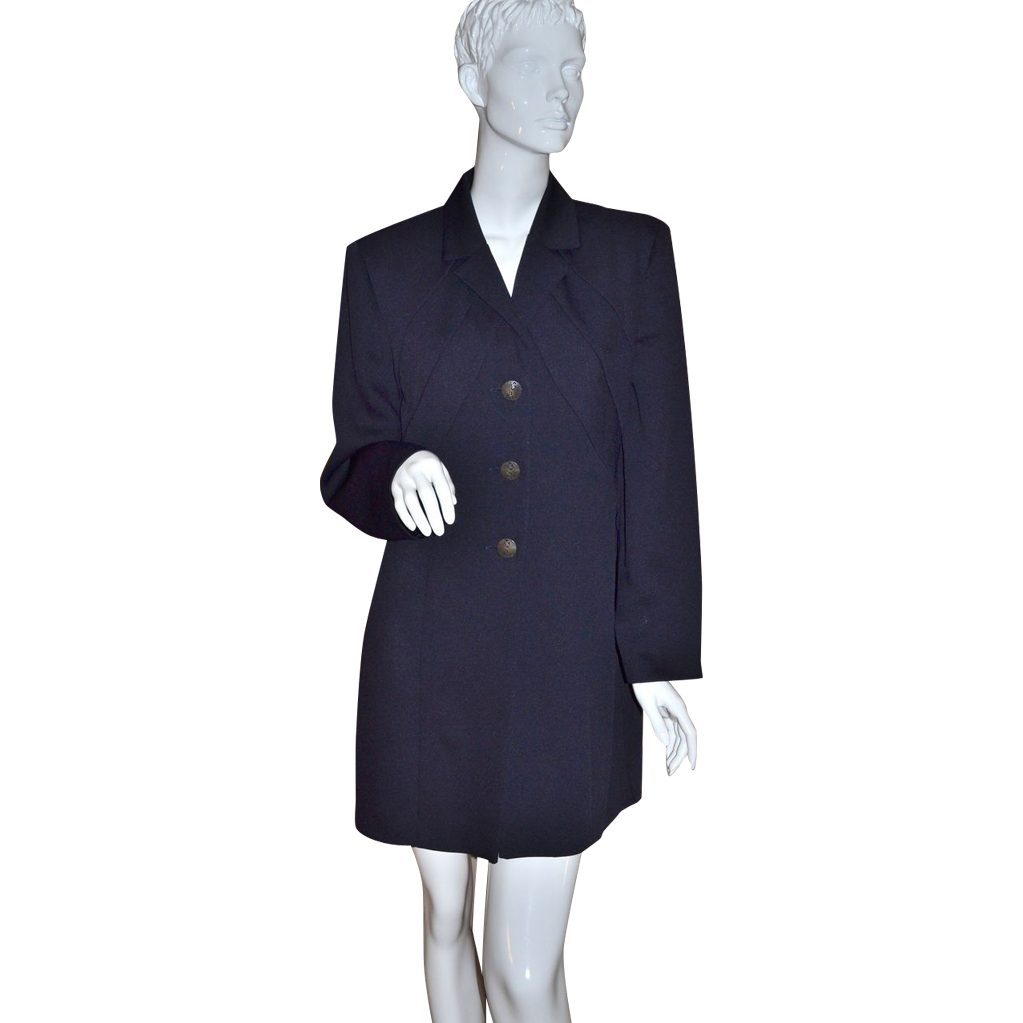 Joseph Ribkoff ~ ILGWU Long Jet Black Jacket/Dress