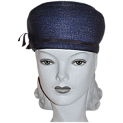 1960s Valerie Modes ~ Navy Blue Structured Hat