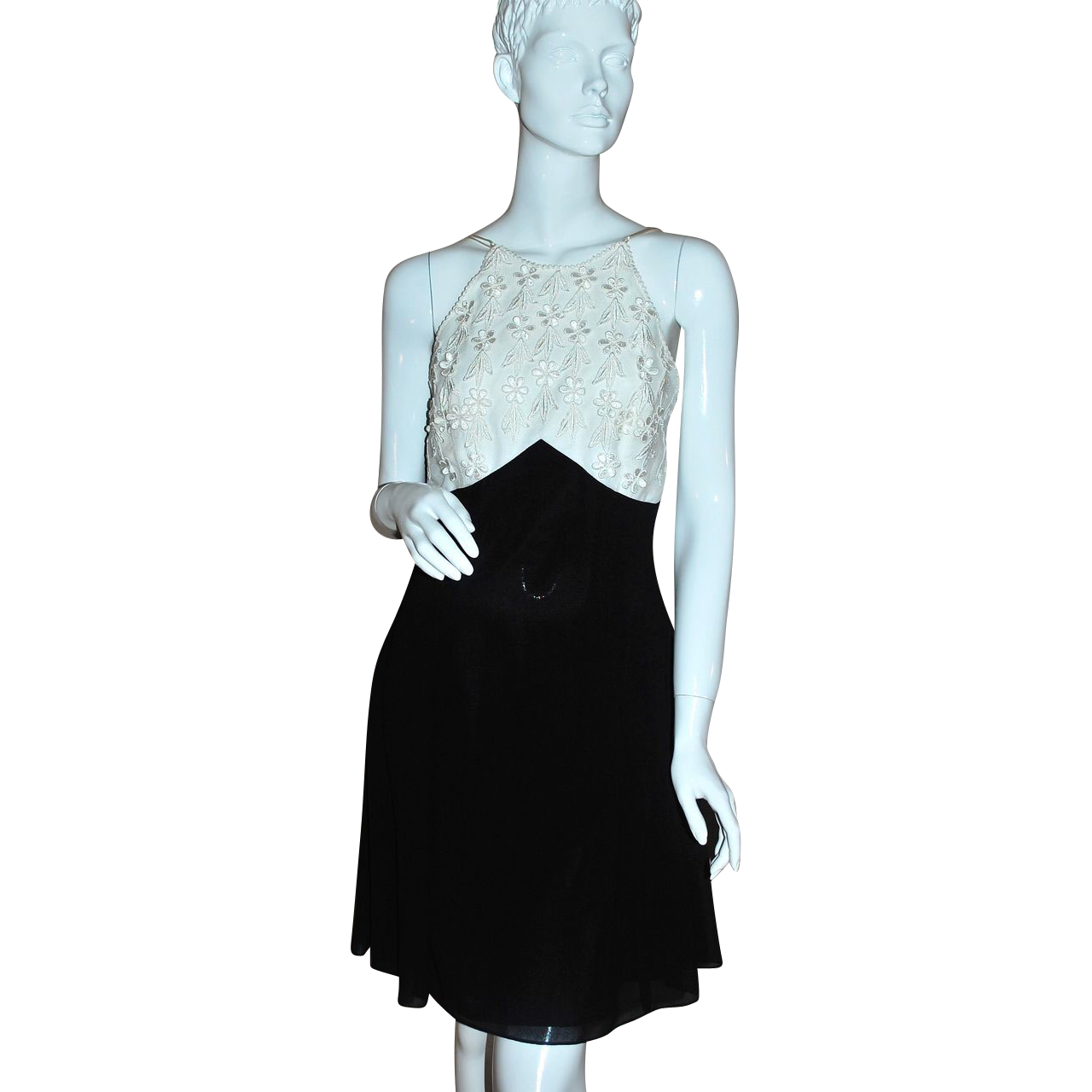 Scott McClintock ~ Lacy Flower Halter Black Dress