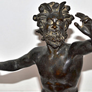 Antique Patinated Bronze Greek Mythology Pan Sculpture