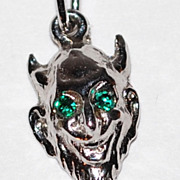 1960s AE Sterling ~ Devil w/ Rhinestone Eyes Charm