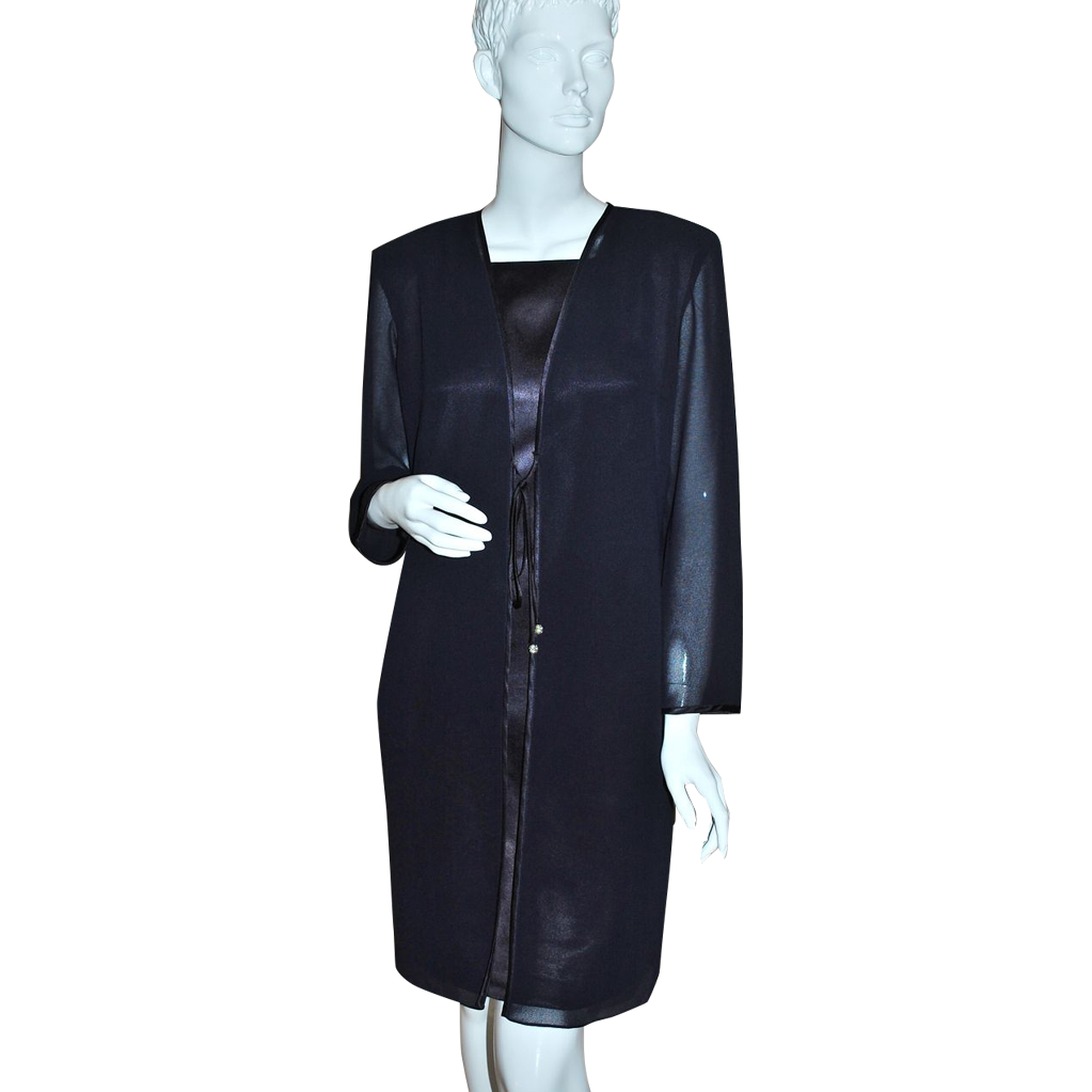 1980s Ann Hobbs ~ Black Chiffon Rhinestone Jacket Style Dress
