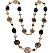 1970s Faux Coin Black Oval Bead Necklace