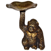 Heavy Solid Brass Gorilla Monkey Trinket Dish