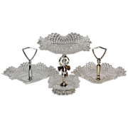 Cherub Diamond Point Glass Candy Dish Set