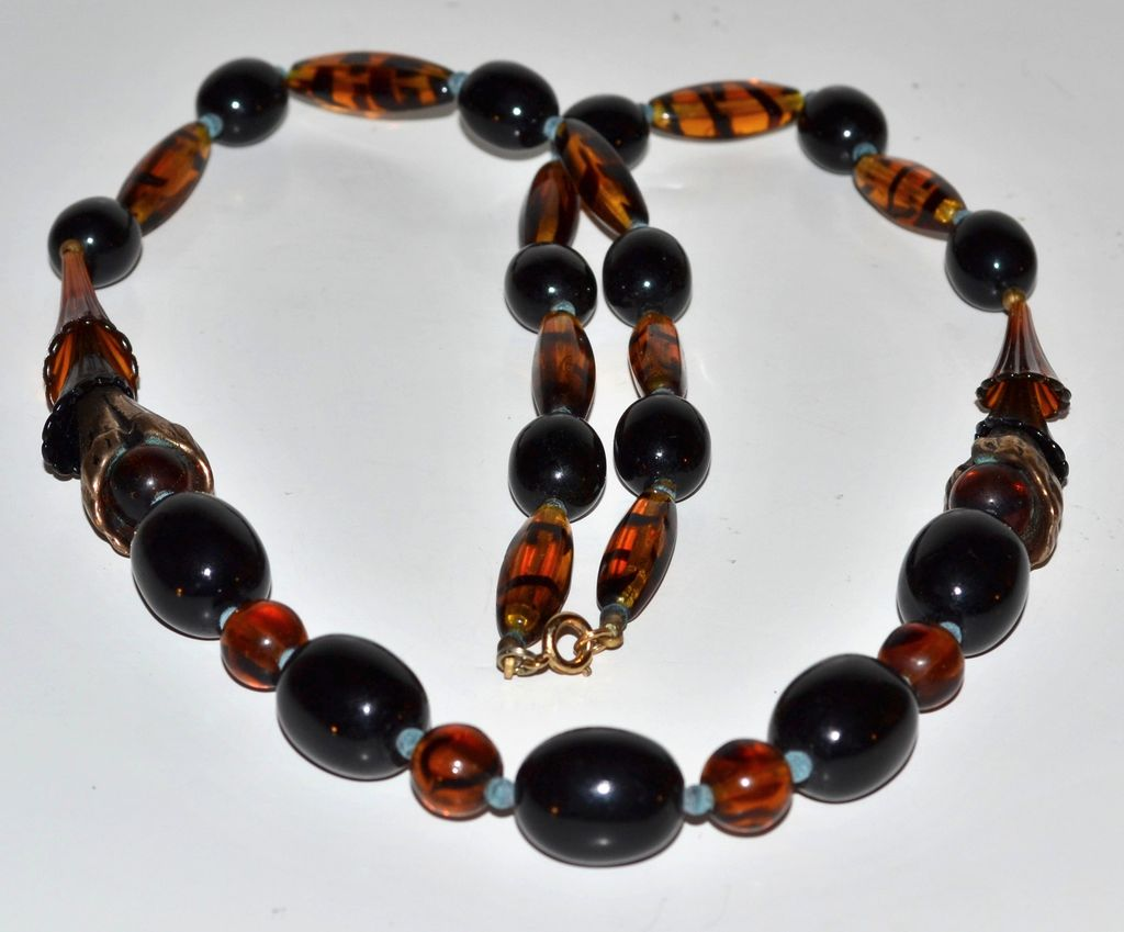 Long Black, Tiger-Striped & Horn Beaded Necklace