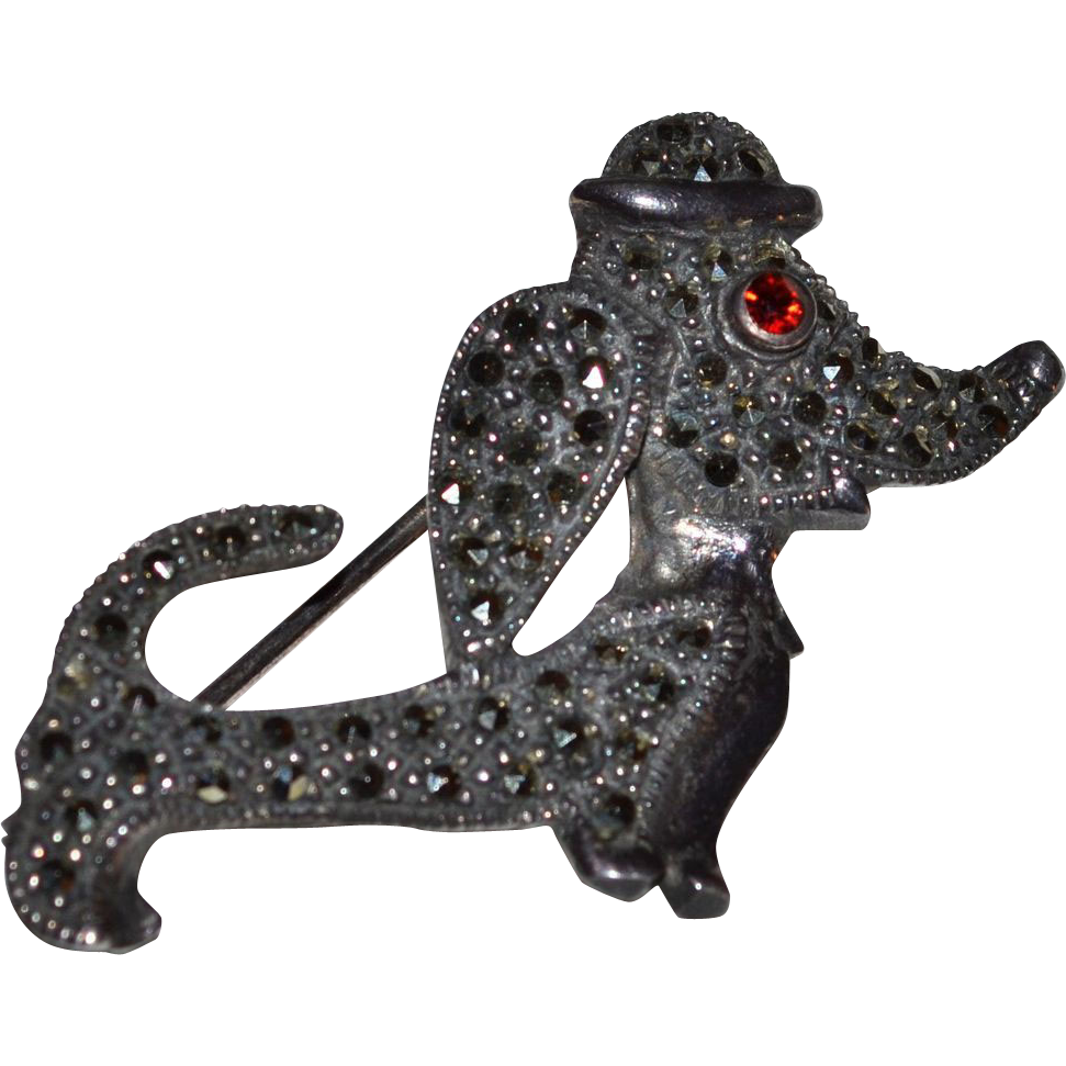 Sterling Silver & Marcasite Dachshund Dog Brooch/Pin