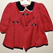 1980s Christmas Red & Velvet Black Dress w/ Overcoat For Child or Large Doll