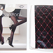 Franzoni ~ Italian Diamond-Design Black Stockings ~ Mint