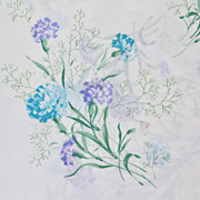 1970s Tastemaker ~ Blue Carnation No-Iron Twin Flat Sheet